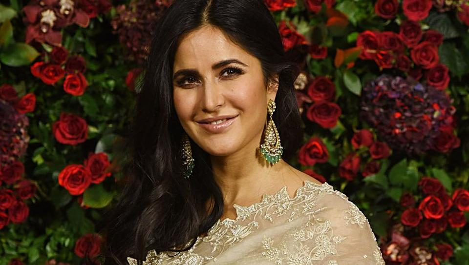 Katrina Kaif poses for a picture during the wedding reception party of actors Ranveer Singh and Deepika Padukone in Mumbai.