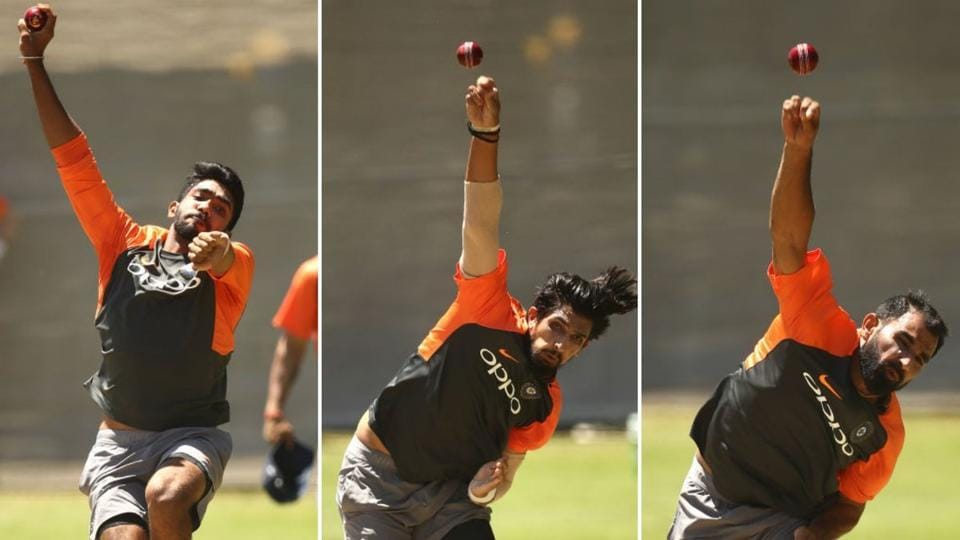 Jasprit Bumrah, Ishant Sharma and Mohammed Shami train in Adelaide.