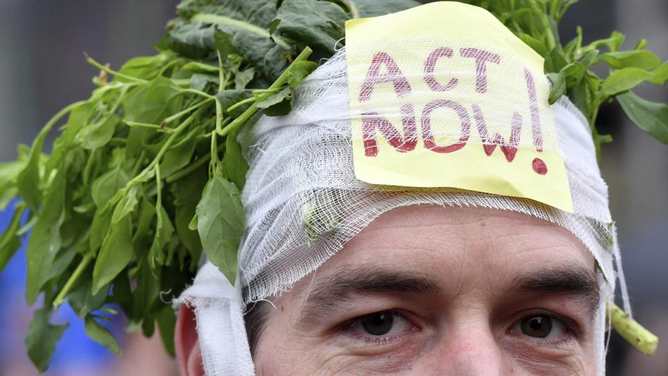 A demonstrator wears during a 'Claim the Climate' march in Brussels, December 2, 2018