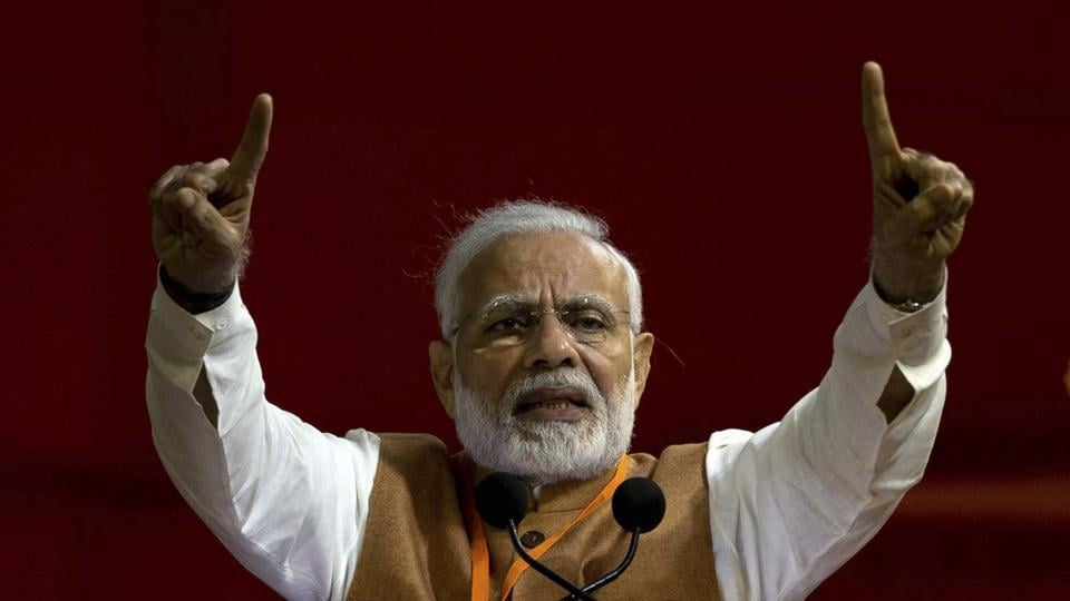 Prime Minister Narendra Modi invoked the Kartarpur corridor to hit out at the Congress party during an election rally at Hanumangarh in Rajasthan. Modi said that in 1947, the party was in such hurry to take charge of India that it did not keep in mind the sentiments of the Sikh community and thus made the huge mistake of letting Kartarpur Sahib Gurdwara go to Pakistan. (Mahesh Kumar A. / AP File)
