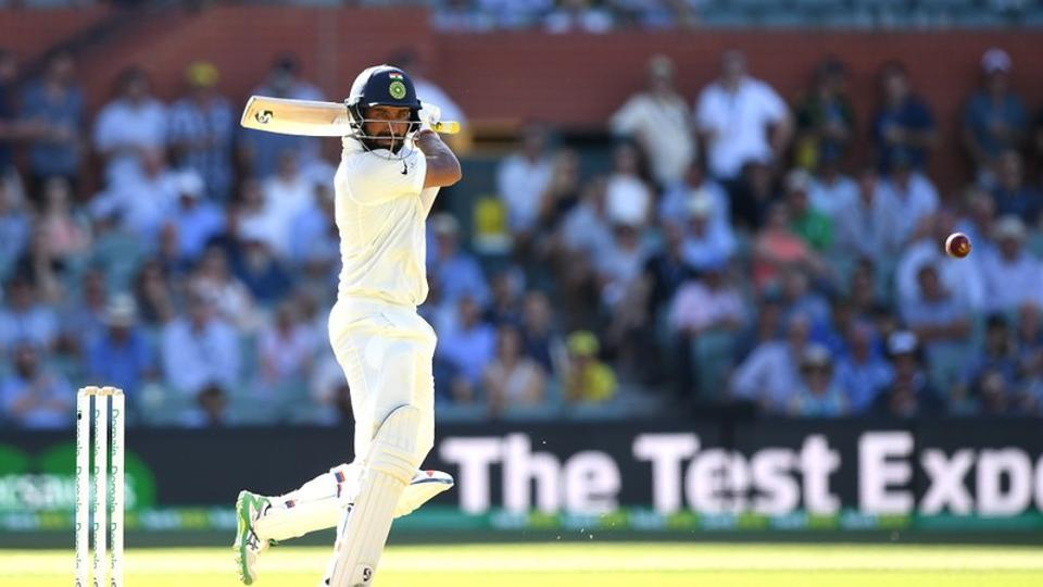 India's Cheteshwar Pujara looks on after playing a shot during day one of the first test match between Australia and India at the Adelaide Oval in Adelaide, Australia, December 6, 2018