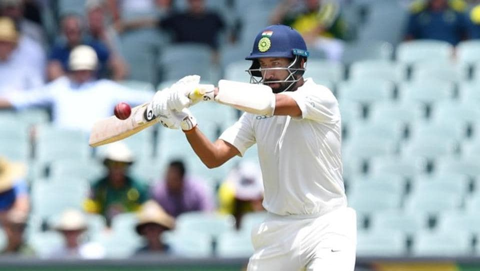 India's Cheteshwar Pujara plays a shot during day one of the first test match between Australia and India at the Adelaide Oval in Adelaide, Australia, December 6, 2018