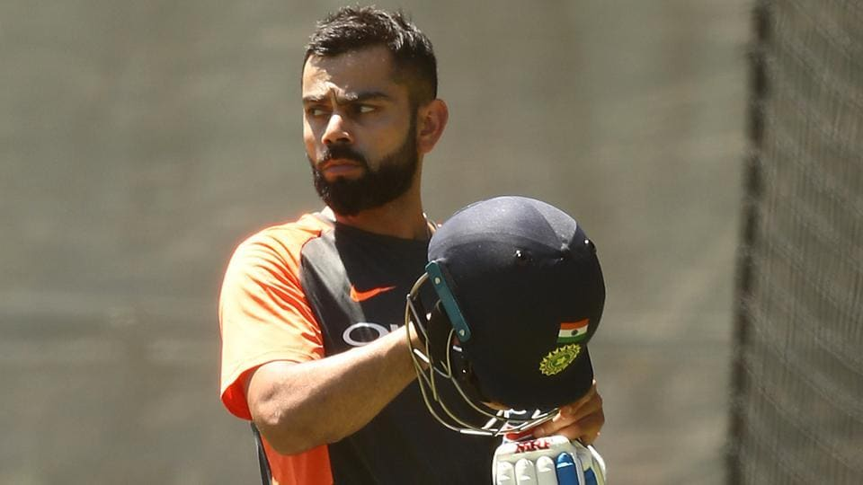 Virat Kohli of India trains during an India training session at Adelaide Oval on December 04, 2018 in Adelaide