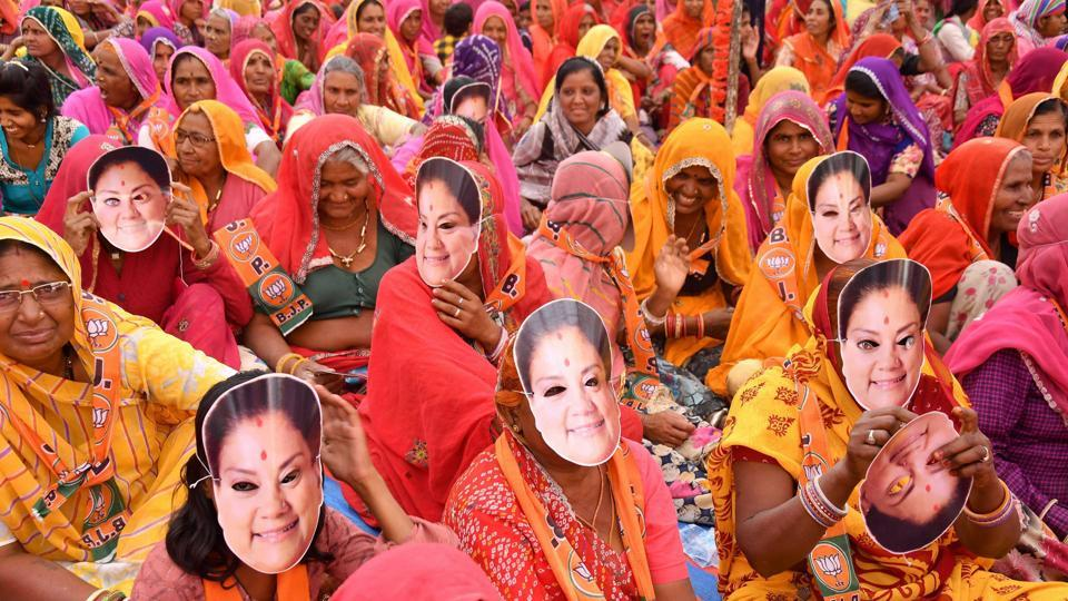Women gather to attend Rajasthan Chief Minister Vasundhara Raje's election rally in support of BJP candidate Shankar Singh Rawat, in Beawar.