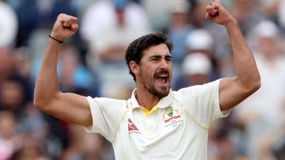 Australia's Mitchell Starc appeals unsuccessfully for a wicket during Day 1 of the first match against India.