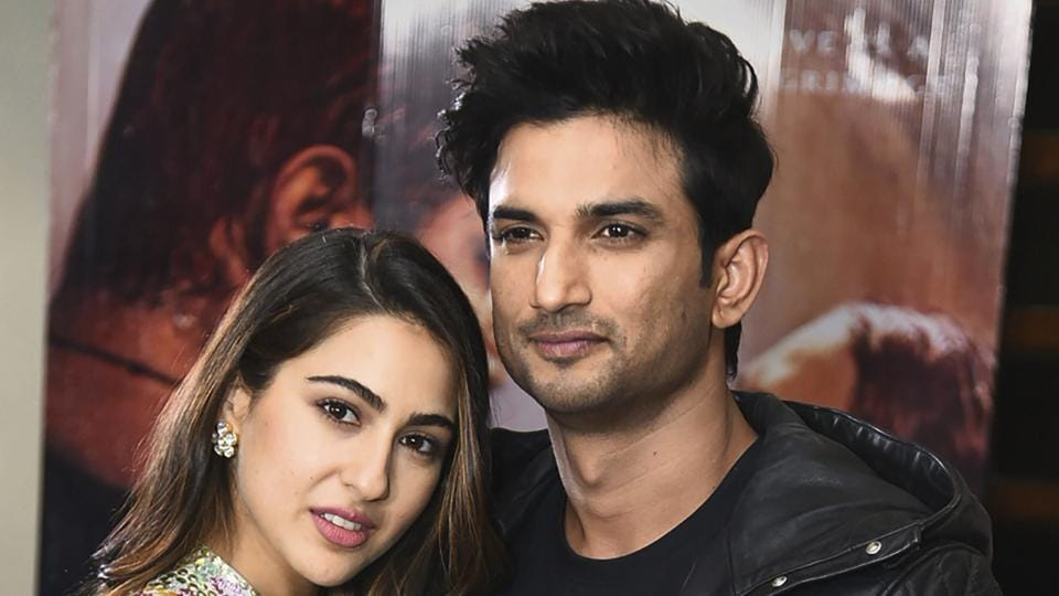 Bollywood actors Sushant Singh Rajput and Sara Ali Khan pose for photos during promotions for the film Kedarnath.