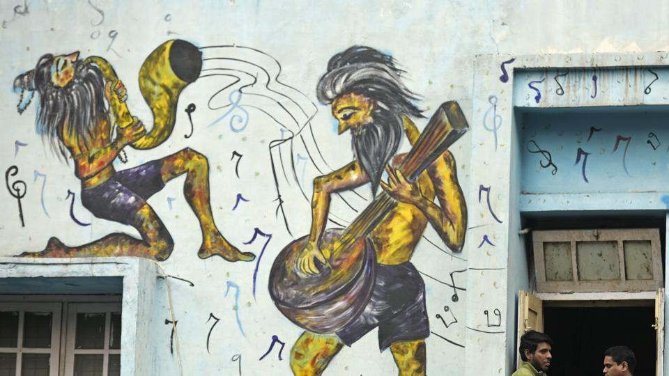 Street art installations at Shankar Market, New  Delhi.  Agencies have struggled with the maintenance and protection of artwork.