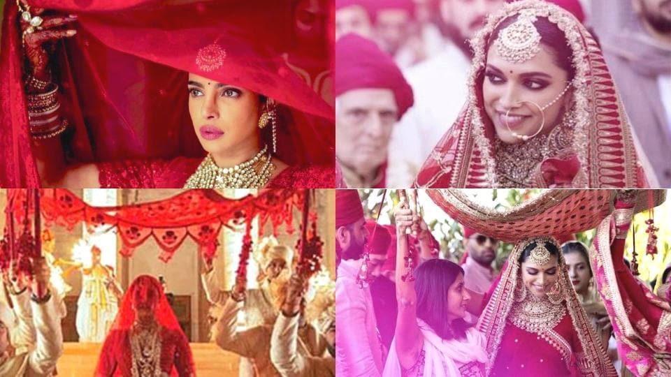 Priyanka Chopra's bright red Sabyasachi lehenga took over 3,000 hours to make. (Instagram)