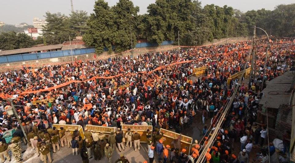 Thousands of people gathered at Ramlila Maidan in Delhi on Sunday for Vishwa Hindu Parishad's rally to press for the construction of Ram Temple in Ayodhya.