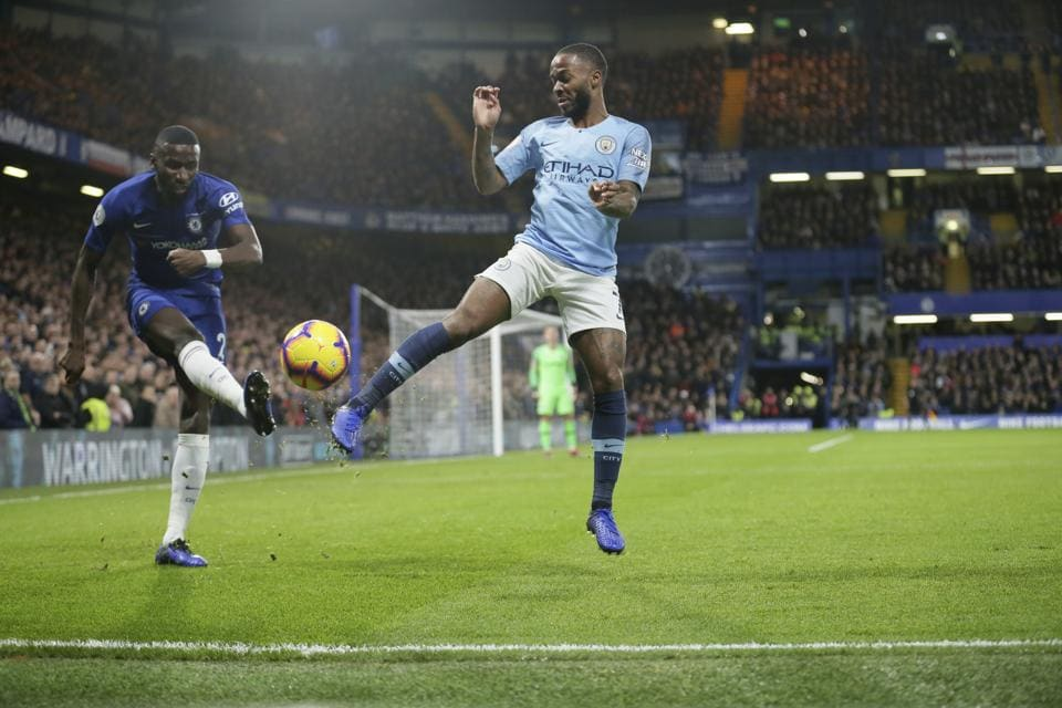 Chelsea's Antonio Rudiger, left, and Manchester City's Raheem Sterling compete for the ball during a Premier League match.