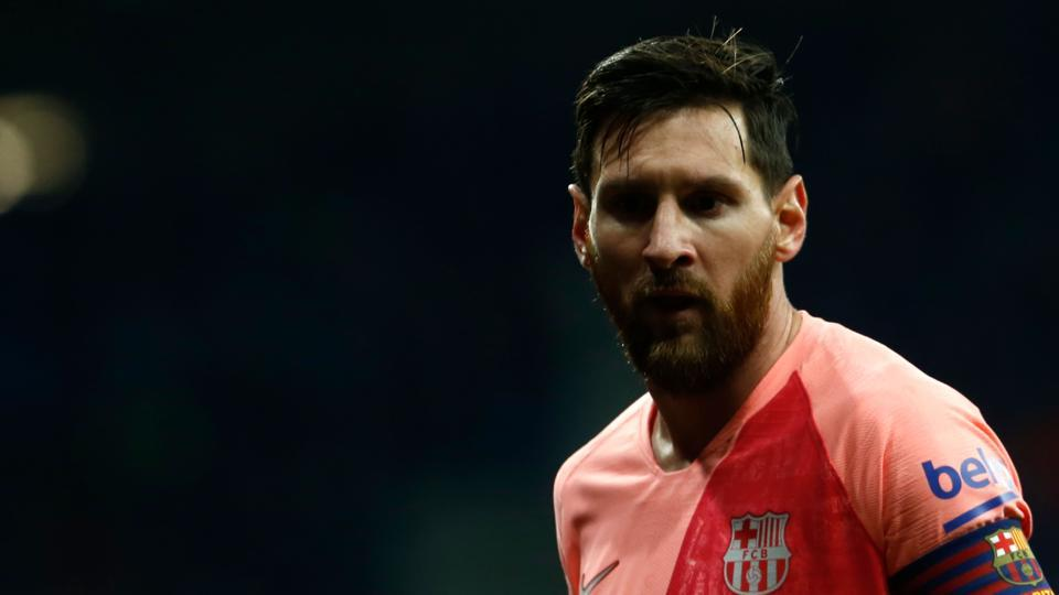 Barcelona's Argentinian forward Lionel Messi looks on during the Spanish league football match RCD Espanyol against FC Barcelona atthe RCDE Stadium.