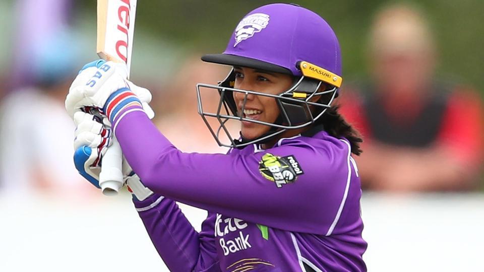 Smriti Mandhana bats during the Women's Big Bash League match between the Hobart Hurricanes and the Melbourne Stars.