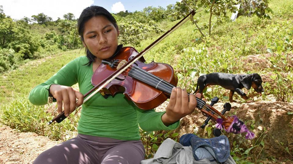 Coca grower Mariel Chura, 21, plays the viola during a break from harvesting coca leaves in her lot in Chura, Chulumani province, Bolivia. When she joined a youth orchestra aged 14, Chura did not even know what a viola was. Seven years later, she loves the instrument, which has offered her an escape from the hardships of life in Bolivia's biggest coca-producing area. (Aizar Raldes / AFP)