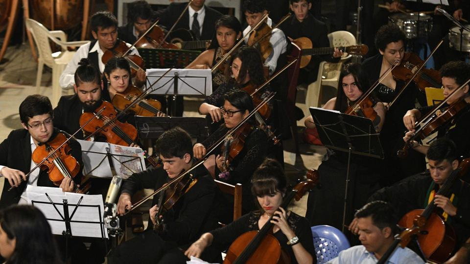 Photos: Bolivian orchestra helps provincial youth play for the