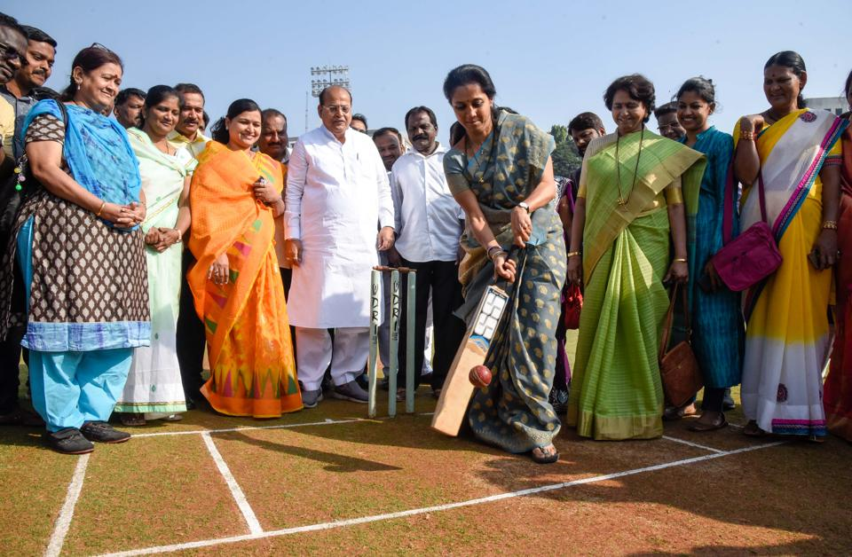 With polls around the corner Supriya Sule, politician from the Nationalist Congress Party (NCP) daughter of Sharad Pawar, president NCP  is on the front foot as she inaugurates Sonia Gandhi U-19 women T20 cricket championship at Nehru Stadium on Sunday. (Sanket Wankhade/HT PHOTO)
