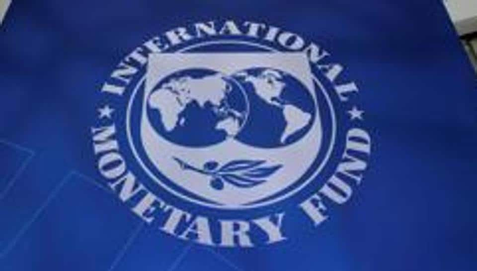 The International Monetary Fund logo is seen during the IMF/World Bank spring meetings in Washington.