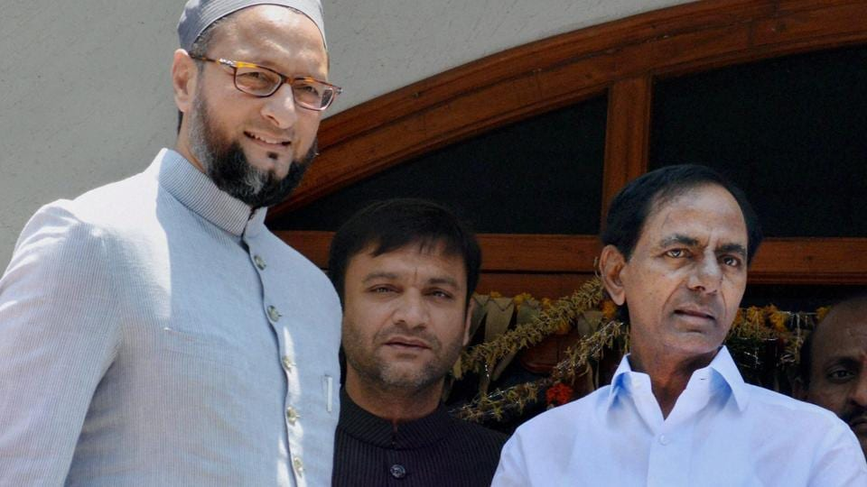 Telangana assembly elections 2018: A day before elections results are announced, Hyderabad MP Asaduddin Owaisi Monday arrived to meet caretaker chief minister K Chandrasekhar Rao triggering buzz on whether his MIM could extend support to the TRS in forming the next government.