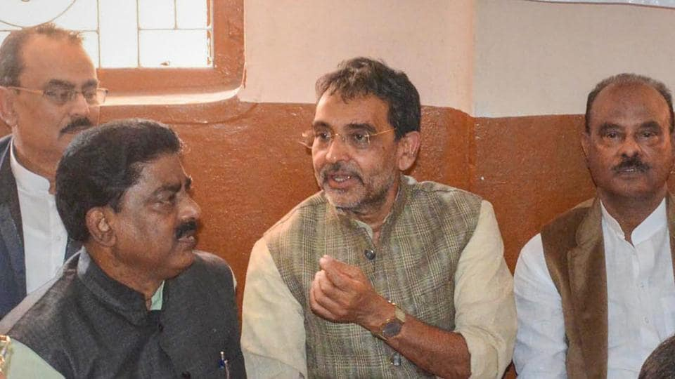"Bihar politician Upendra Kushwaha (C) quit as a minister at the centre, declaring in his resignation letter to Prime Minister Narendra Modi, ""I stand dejected, betrayed by your leadership."" He has also walked out the BJP-led National Democratic Alliance (NDA) and said that he has his options open. (PTI File)"