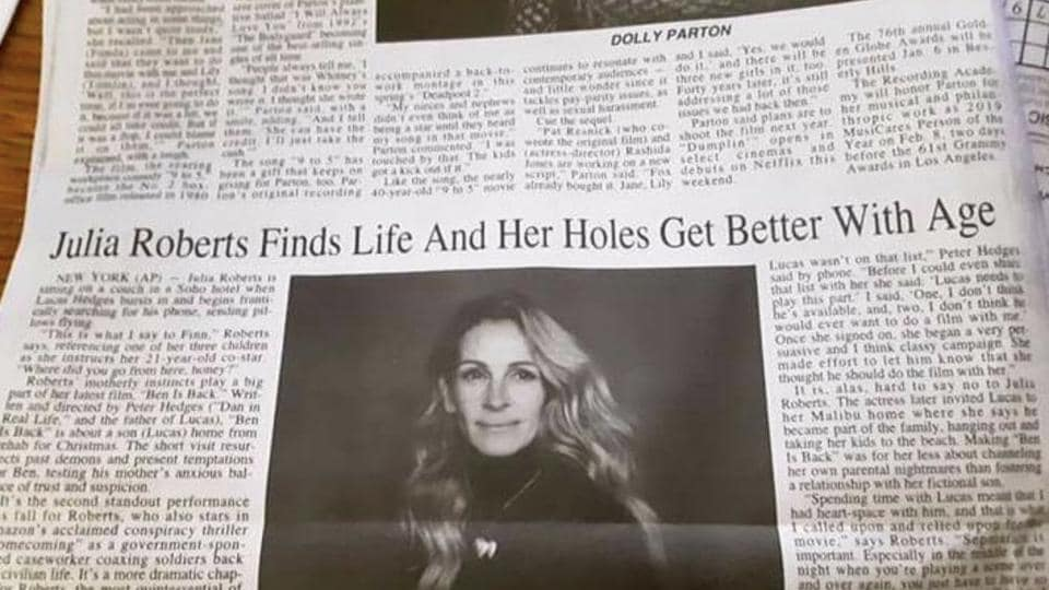 Unfortunate headline typo claims Julia Roberts loves her holes