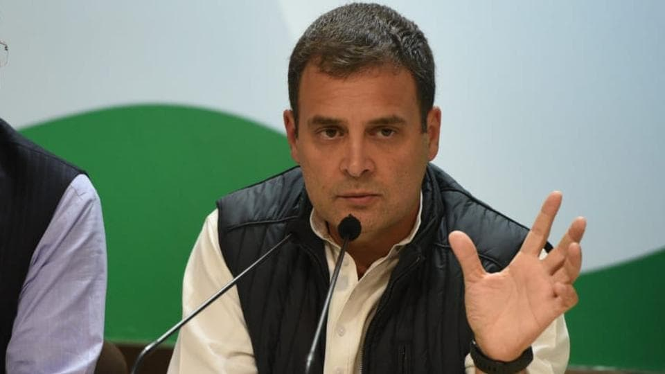 Congress chief Rahul Gandhi addresses a press conference after his party takes 2 states -  Rajasthan, Chhattisgarh