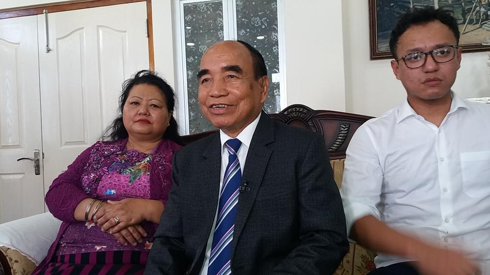 Mizo National Front chief Zoramthanga, who is set to return as Mizoram chief minister, at his home in Aizawl  as the votes in the state assembly election were counted (HT Photo)