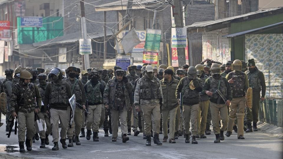 Police on Tuesday said that three policemen were killed and another injured in a militant attack in Jammu and Kashmir's Shopian district. After attacking policemen deployed to guard members of the minority community, in Shopian, in the afternoon, militants fled with the rifles of the killed policemen. (Waseem Andrabi / HT Photo)