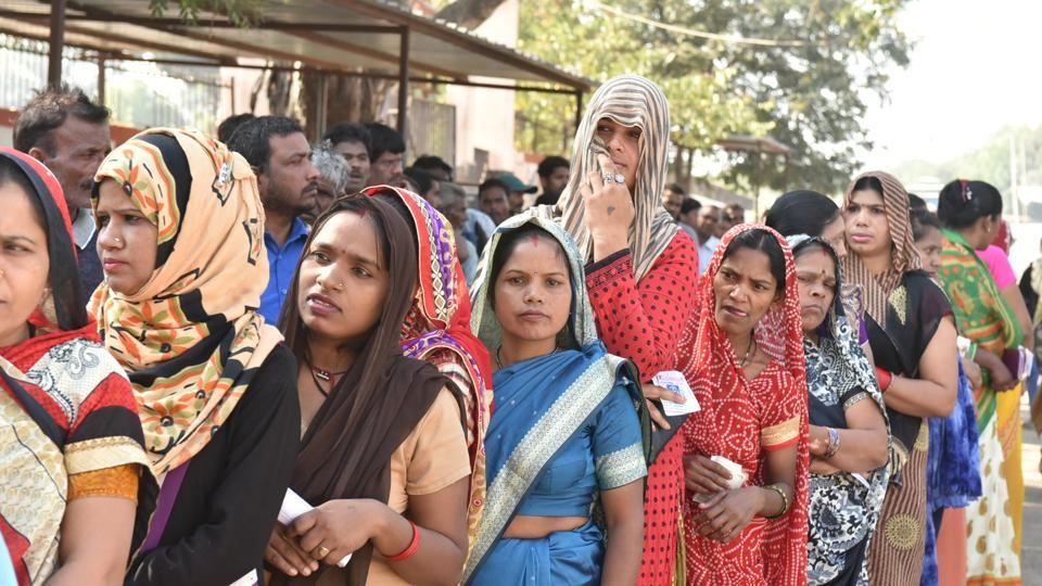 Voters stand in a queue to cast their votes, at North TT Nagar, in Bhopal, India, on Wednesday, November 28, 2018.