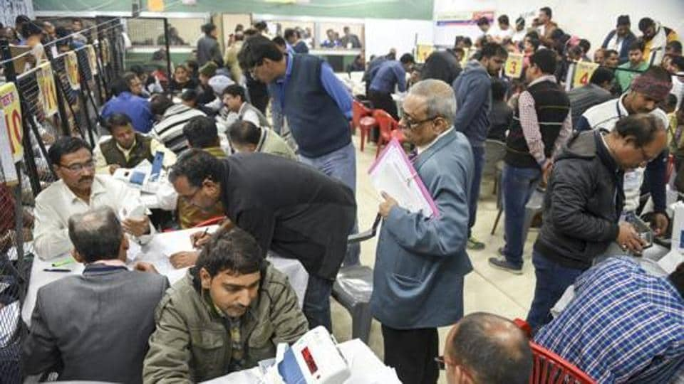 Counting of votes for the assembly elections in progress at a counting centre in Indore, Madhya Pradesh, Tuesday, Dec 11, 2018.