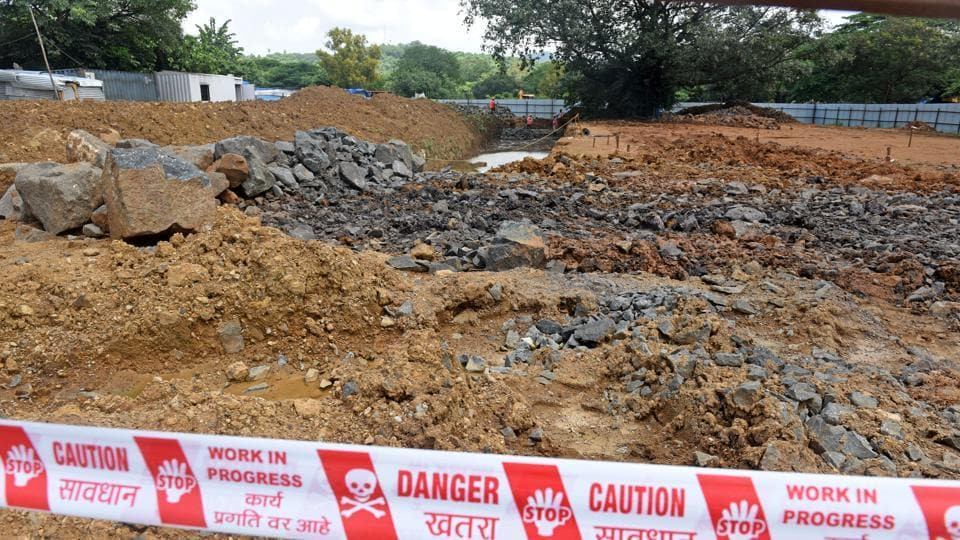Metro construction activity being carried out at unit 19 Aarey for metro III (Colaba-Bandra-SEEPZ)in Aarey in Mumbai in September. The Supreme Court of India on Monday allowed the Mumbai Metro Rail Corporation Limited (MMRCL) to go ahead with the tunneling/construction work.