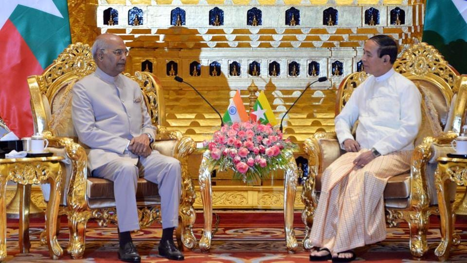 President Ram Nath Kovind (L) met his Myanmar counterpart Win Myint at the presidential palace in capital Naypyidaw. In a bid to boost relations with India, Myanmar will provide visa-on-arrival for Indian tourists, President Kovind said as he began his five-day visit to the country. (Thet Aung / AFP)