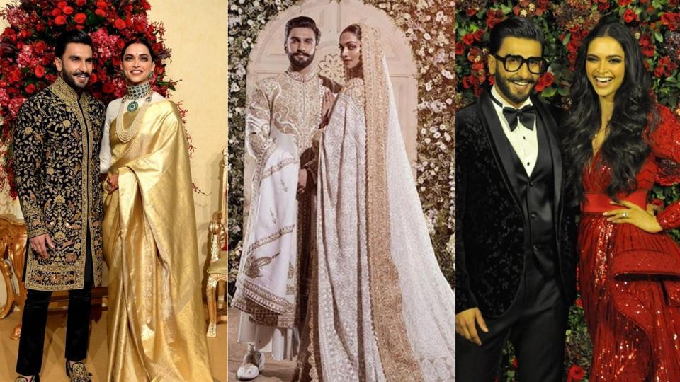 Ranveer Singh and Deepika Padukone at their three wedding receptions.