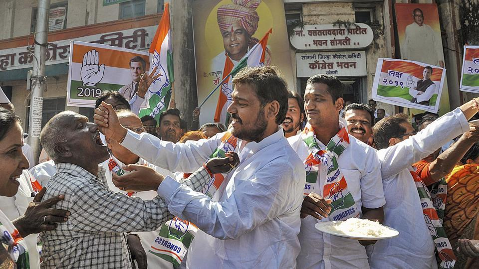 Congress party worker celebrate the party's good show in Assembly elections of Rajasthan, Chhattisgarh and Madhya Pradesh on Tuesday.