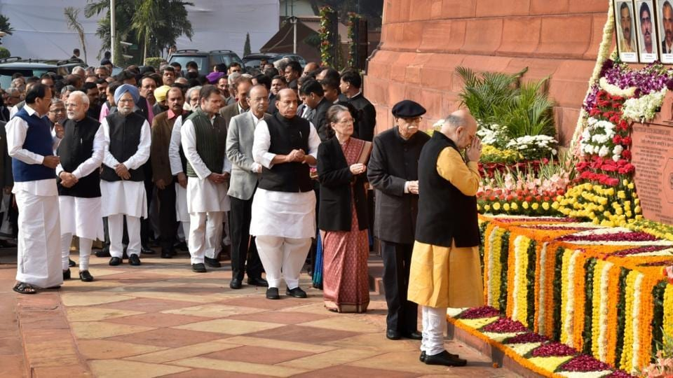 Vice President of India, M Venkaiah Naidu, Prime Minister Narendra Modi, former Prime Minister Dr. Manmohan Singh, Congress President Rahul Gandhi, Finance Minister Arun Jaitley, Home Minister Rajnath Singh, UPA Chairperson Sonia Gandhi and other parliamentarians paid homage to security personnel who lost their lives during the 2001 Parliament attack, on the 17th anniversary of the event, at Parliament House, in New Delhi. (Ajay Aggarwal / HT Photo)