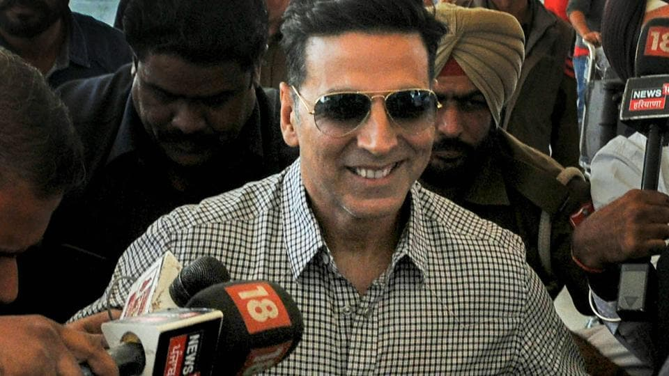 Bollywood actor Akshay Kumar at Chandigarh airport after appearing before the Special Investigation Team (SIT) of Punjab Police in connection with the 2015 police firing incidents at Behbal Kalan and Kotkapura in the state following cases of sacrilege in Faridkot, in Chandigarh,  Nov.21, 2018.