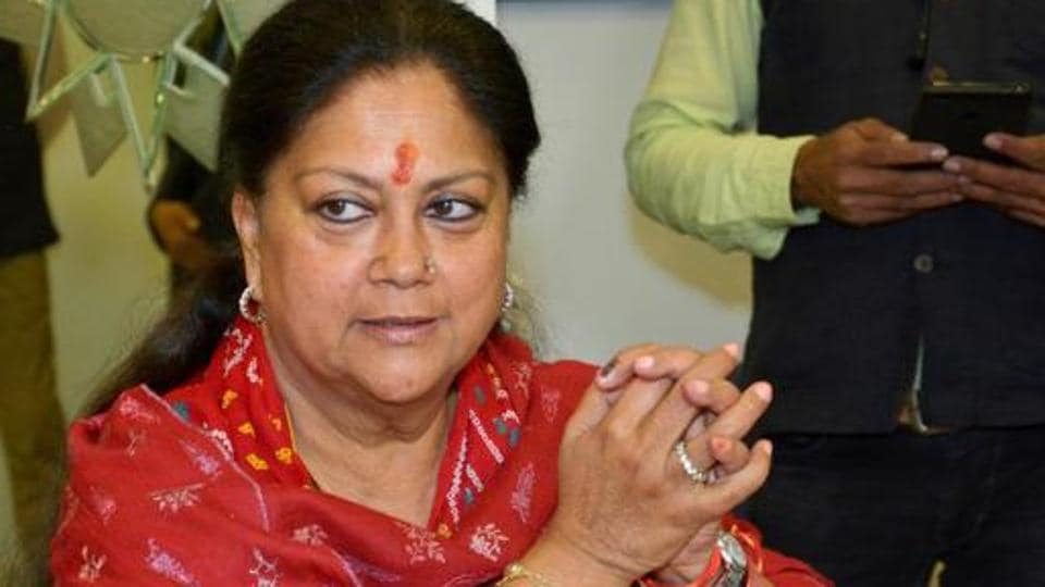Former Rajasthan chief minister Vasundhara Raje speaks to the media after the announcement of Assembly election results, in Jaipur, Dec. 11, 2018.