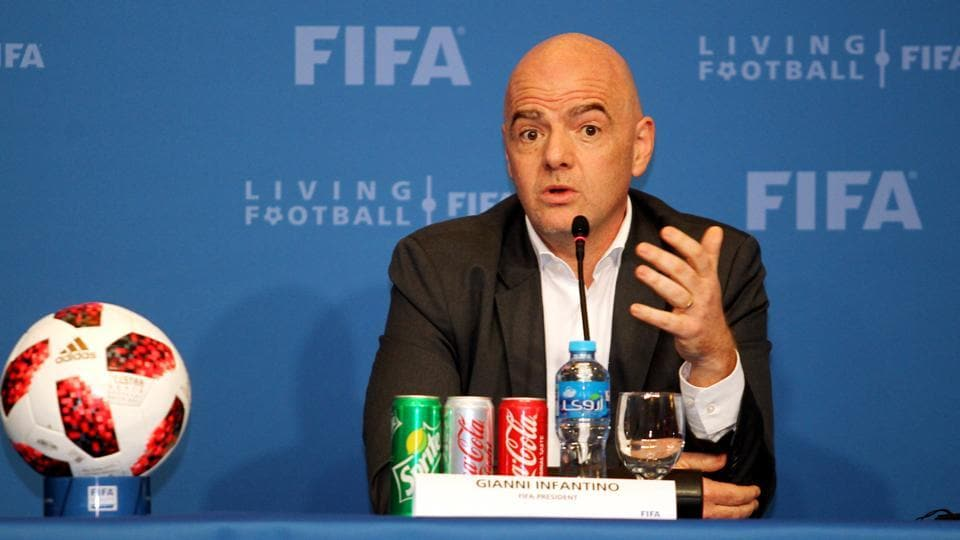 FIFA president Gianni Infantino speaks during a news conference in Doha.