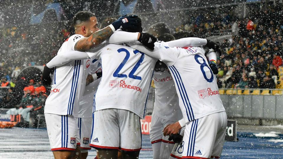 Lyon's players after the UEFA Champions League, Groupe F football match.
