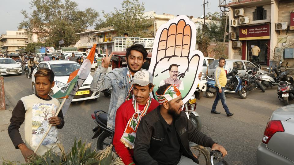 Congress party supporters celebrate the party's victory in the Rajasthan state assembly elections in Jaipur,  Tuesday, Dec. 11, 2018.The  Congress gave tickets to 15 candidates from the Rajput community of which seven won.