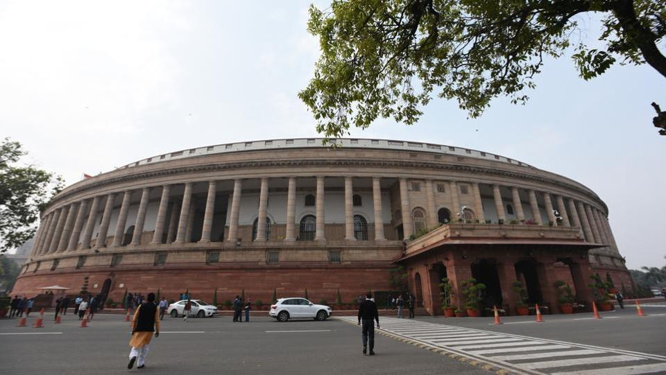 The Lok Sabha was adjourned for the day on Thursday after two brief adjournments during Question Hour amid unrelenting protests by the opposition, which raised the Rafale deal among other issues, while NDA ally Shiv Sena demanded an ordinance to pave the way for the construction of a grand Ram temple in Ayodhya at the earliest. (Sonu Mehta / HT File)