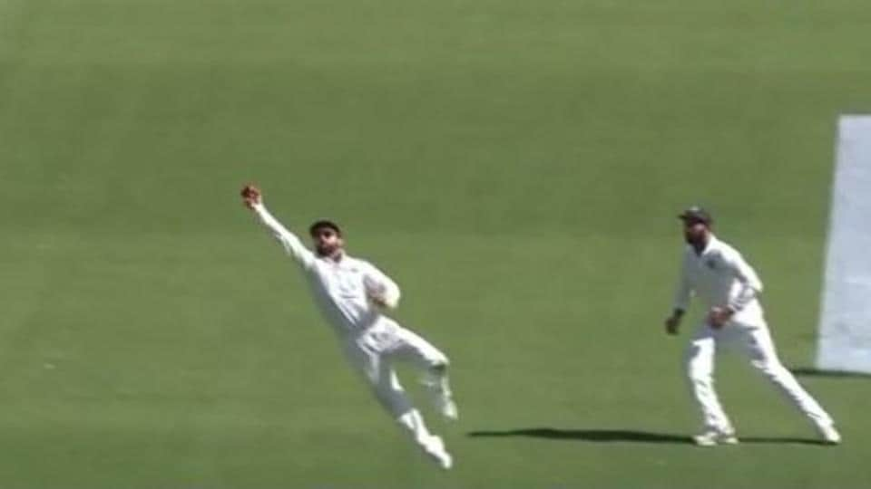 Screengrab of Virat Kohli's catch to dismiss Peter Handscomb in the second Test at Perth.