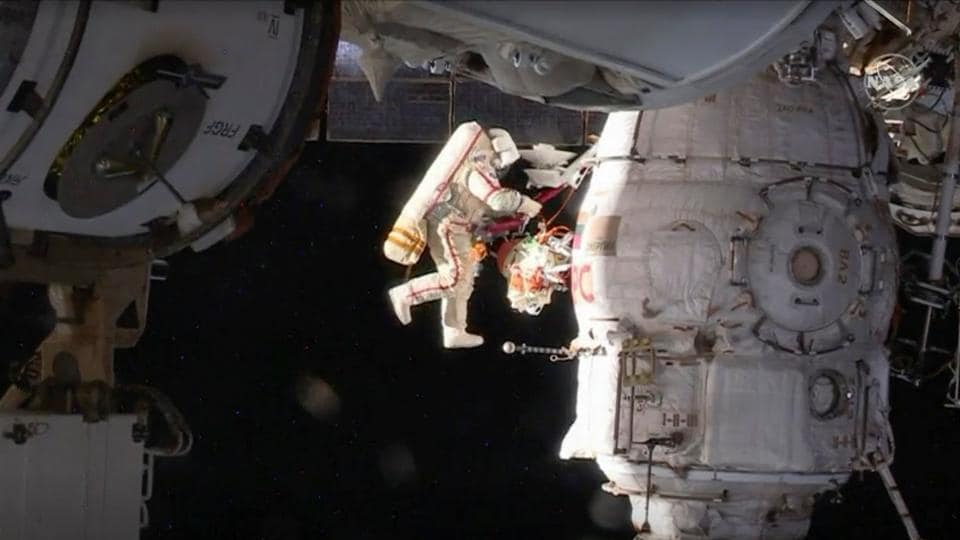 Russian cosmonaut Oleg Kononenko conducts a spacewalk outside the International Space Station Space (ISS) in this image captured from NASA video in space. (NASA TV / Handout via REUTERS)