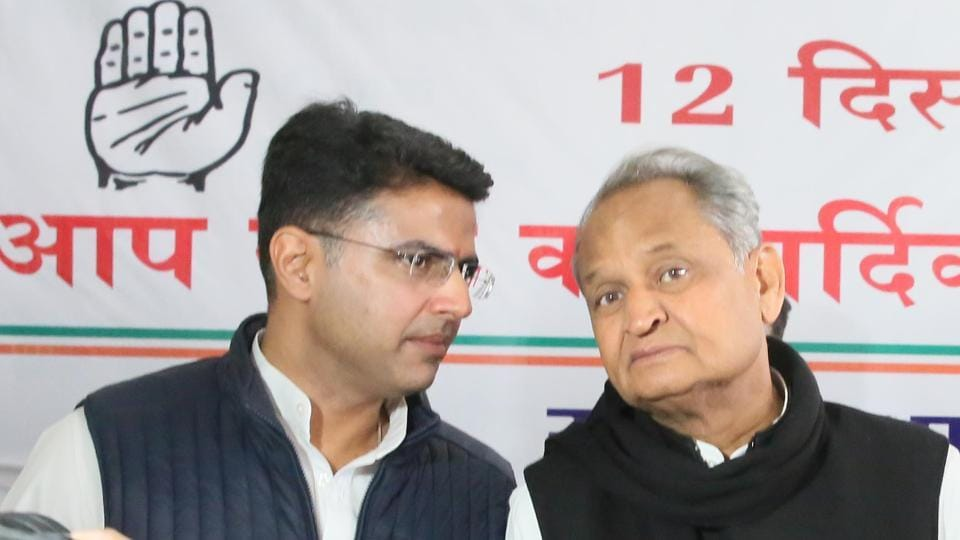 Rajasthan state Congress chief Sachin Pilot and former chief minister Ashok Gehlot in conversation during the Congress legislature meeting, at party office, in Jaipur, Rajasthan, Wednesday, December 12, 2018.