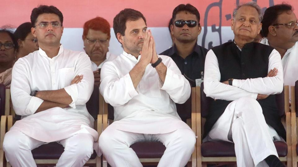 Congress President Rahul Gandhi(C) with State party president Sachin Pilot(L) and national general secretary Ashok Gehlot(R), during a public rally, in Jaipur, Rajasthan.