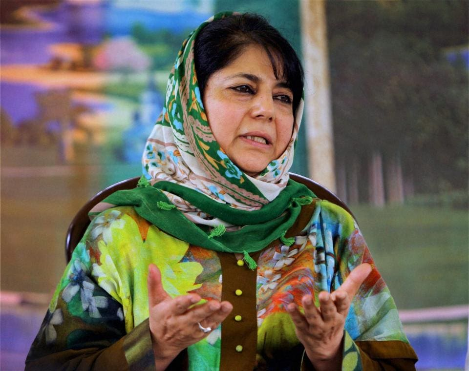 Jammu and Kashmir Peoples Deomocratic Party (PDP) president Mehbooba Mufti addresses a press confrence in Srinagar.