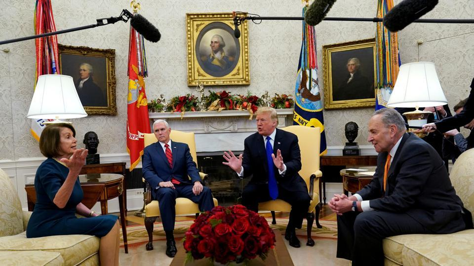 US President Donald Trump speaks next to Vice President Mike Pence (2ndL) while meeting with Senate Democratic Leader Chuck Schumer (D-NY) and House Democratic Leader Nancy Pelosi (D-CA) at the White House in Washington, in a rare public meeting between leaders of the two parties in the US. (Kevin Lamarque / REUTERS)