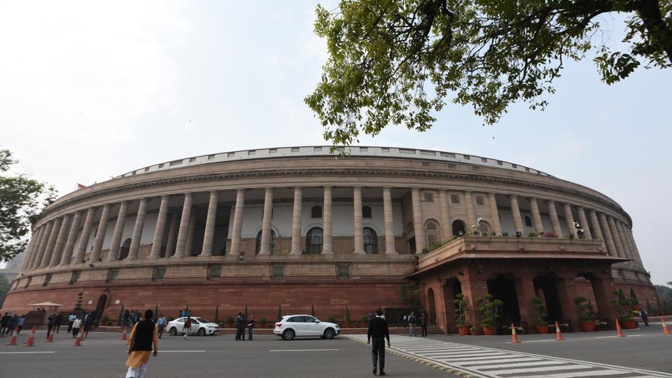 A view of Parliament House Building during the Parliament Winter Session in New Delhi on December 12.
