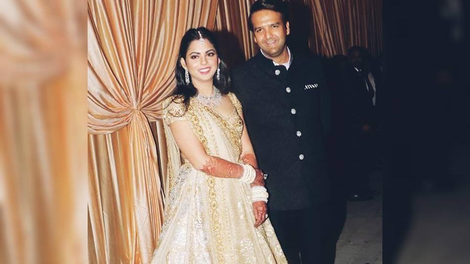 Isha Ambanis Wedding Reception Isha Dazzles In White And Gold