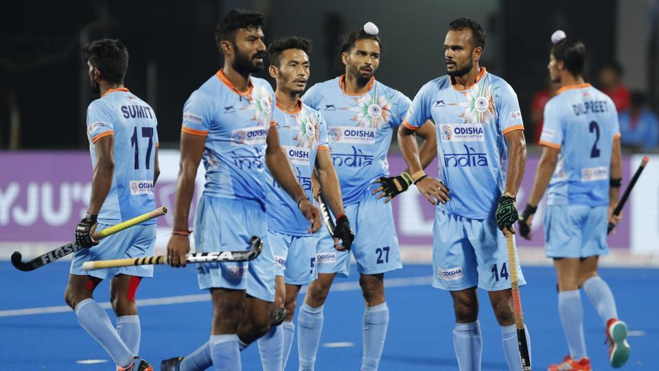Indian players react after their loss against Netherlands in the Men's Hockey World Cup quarterfinal match at Kalinga Stadium in Bhubaneswar, India, Thursday, Dec. 13, 2018. Netherlands won the match 2-1