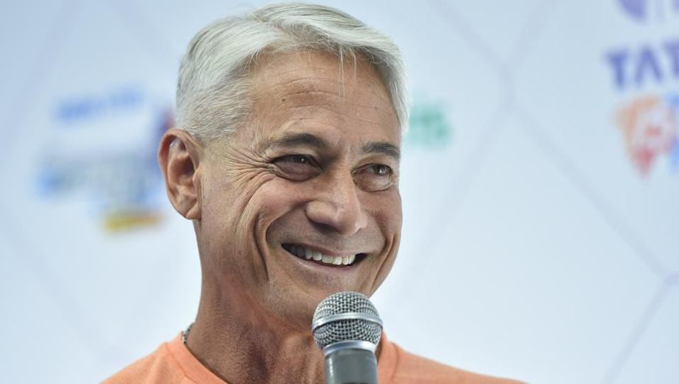 Four-time Olympic gold medalist and the world's greatest diver, Greg Louganis the International event ambassador of Tata Steel Kolkata 25K marathon during a press conference in Kolkata, India, on Thursday, December 13, 2018.