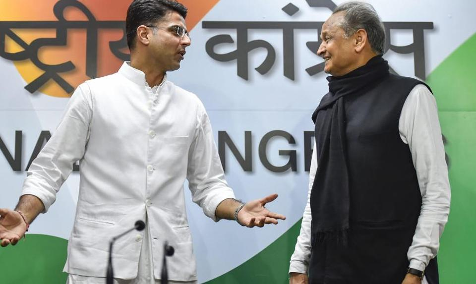New Delhi: Rajasthan Congress President Sachin Pilot and senior party leader Ashok Gehlot before the press conference at AICC headquarters in New Delhi, on Friday, Dec. 14, 2018.